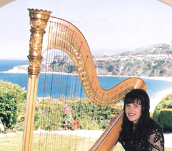 Pamela Brown with her harp at a special event.